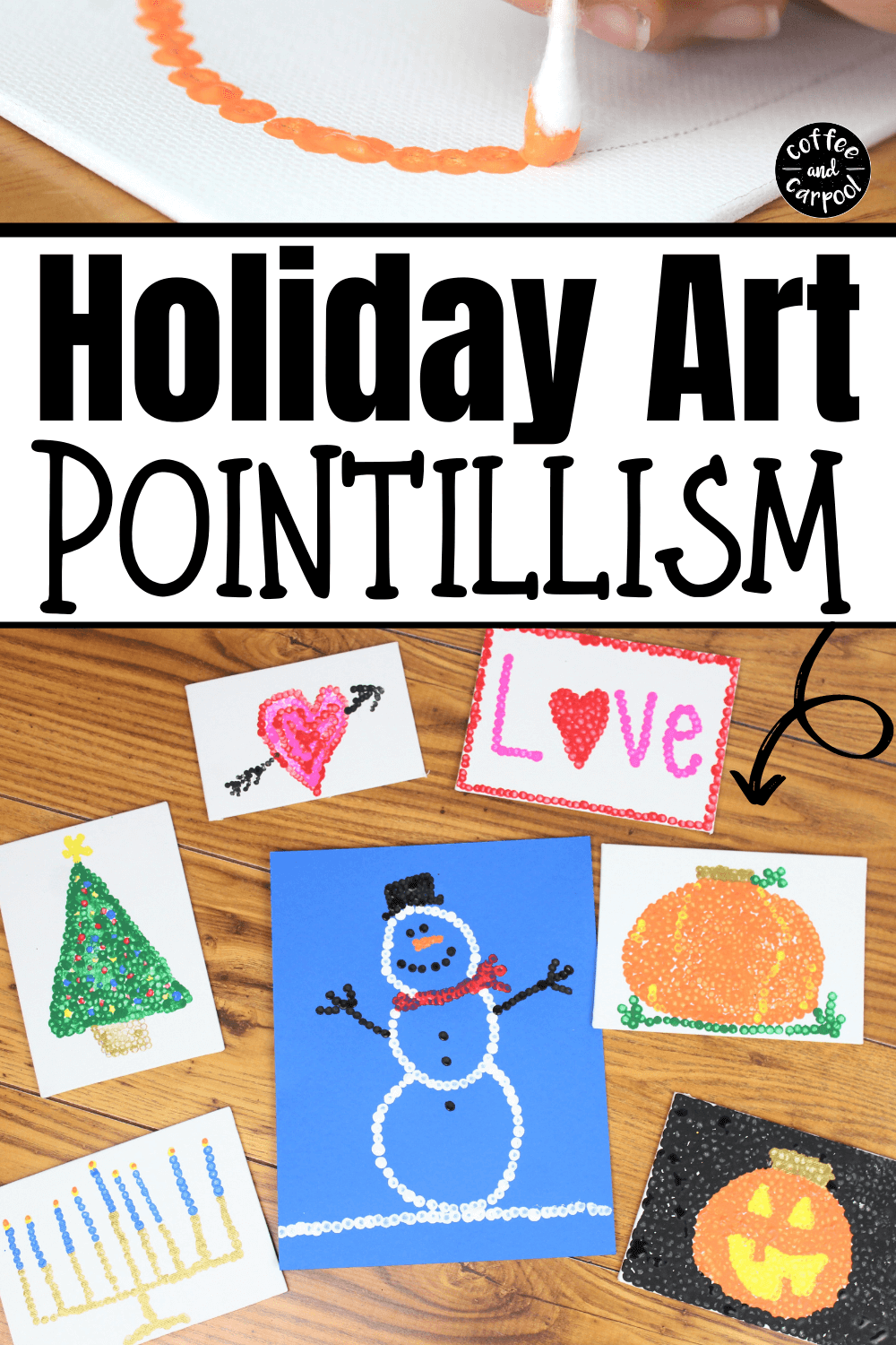 These holiday art with pointillism projects are perfect anytime of the year to do with kids at home or kids in the classroom. #artprojects #kidartprojects #artsandcrafts #holidaycrafts #holidaycraftsforkids #pointillismart #artteacher