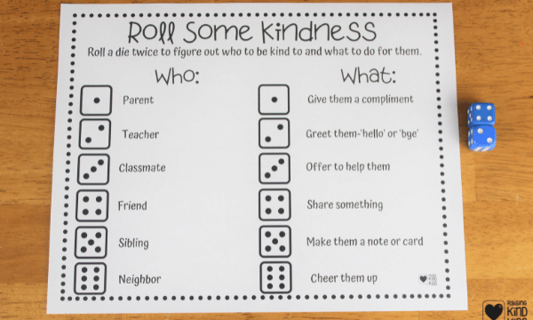 Use this kindness dice game to help kids speak and act with kindness more often. It's a fun, hands on kindness activity for kids.
