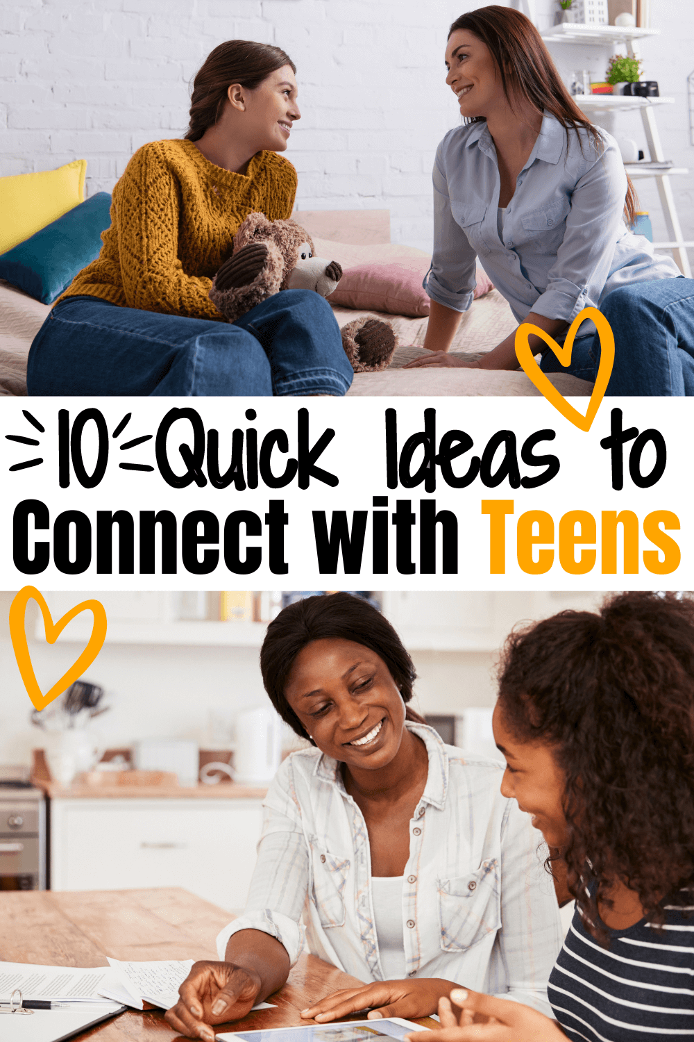Use these 10 ideas to connect with teens to prove to them they are loved, safe and a welcome part of your family. Teenagers can be hard to undertand. These ideas will help you connect with them in meaningful ways.