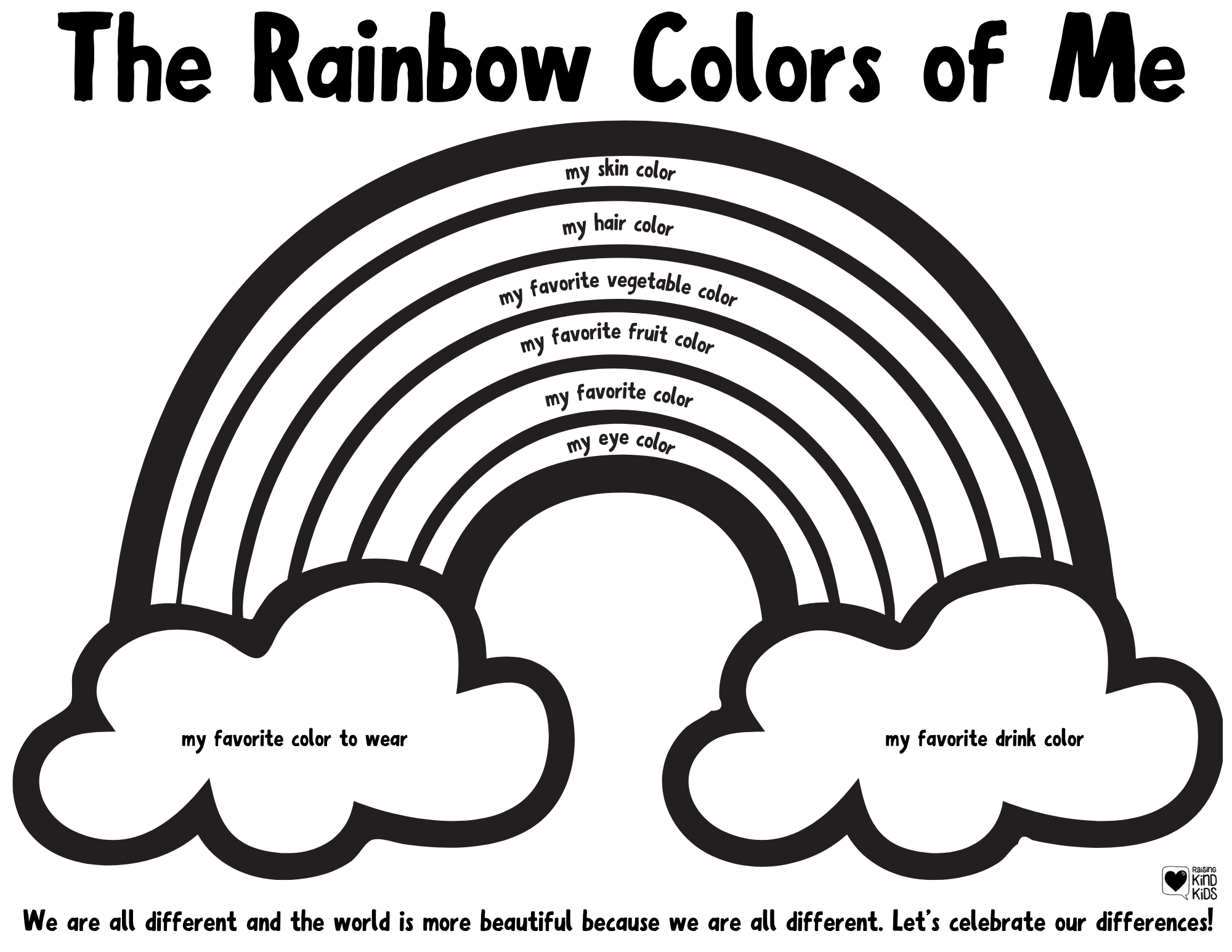 Celebrate Diversity and our differences with this Rainbows Colors of Me printable. Kids can color all the colors of them.