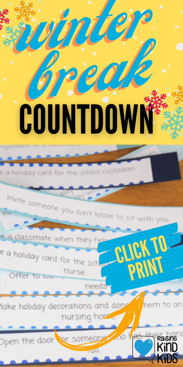 Use this countdown paper chain in December as a kindness winter break countdown