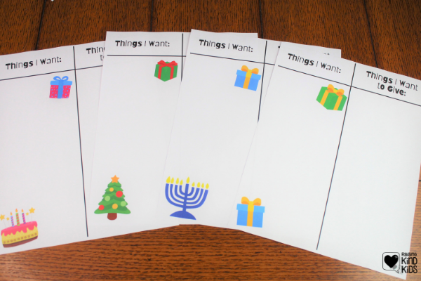 Helps kids battle the gimmes and focus on giving with this Things I want/Things I want to Give away Printable, perfect for Christmas, Hanukkah and birthdays