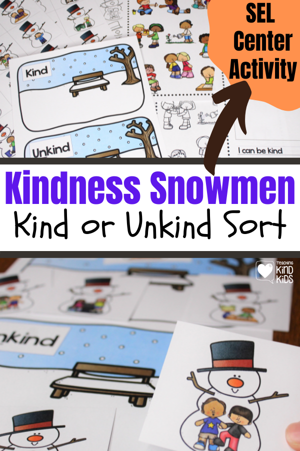 Use this kindness snowmen activity to teach sel curriculum and character education as a fun winter-themed center.
