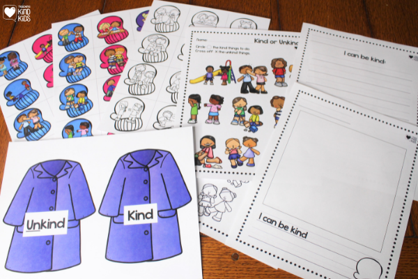 This kindness mittens activity helps kids sort kind and unkind behavior as a character education winter themed centers activity.