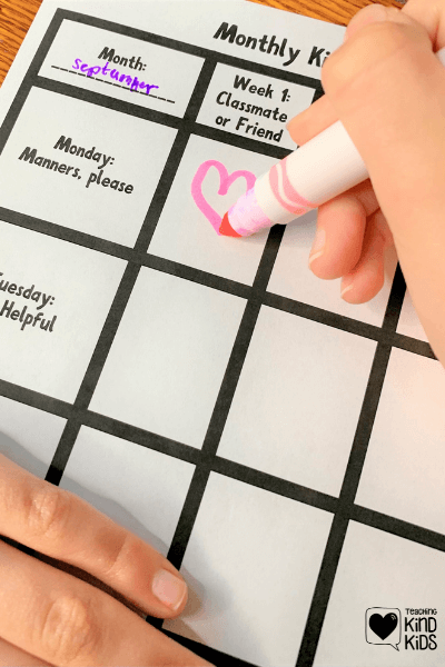 Monthly Kindness challenge printables