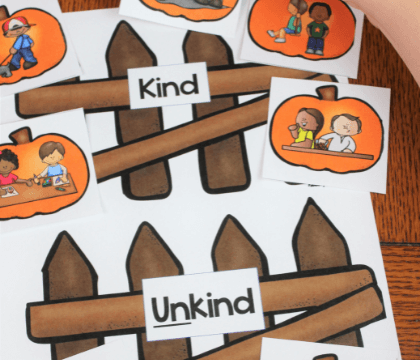 Use this kindness pumpkin hands-on sel activity to help kids determine what is kind and what is not.